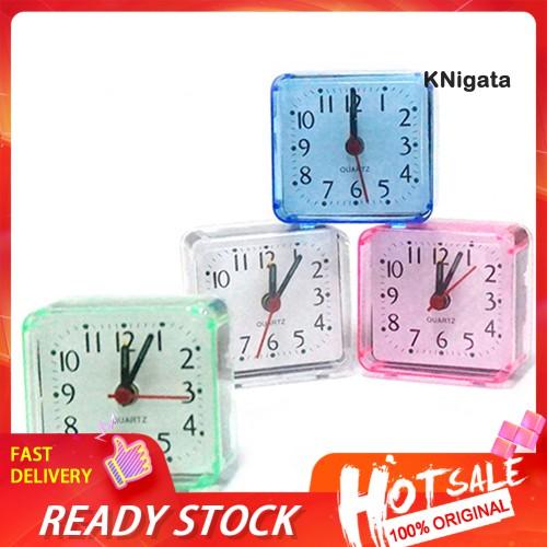 Knigata 床旅行迷你便攜式緊湊型方形石英蜂鳴表靜音鬧鐘
