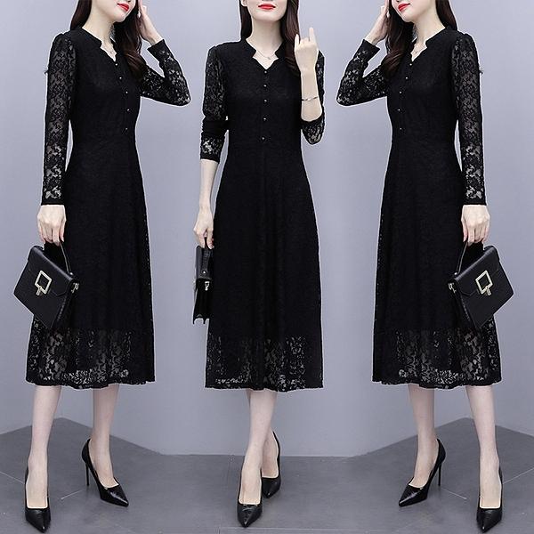 蕾絲連身裙L-5XL 2020年新款秋裝中長款長袖蕾絲連身裙女大碼女裝氣質打底裙子8146 3F130 胖丫