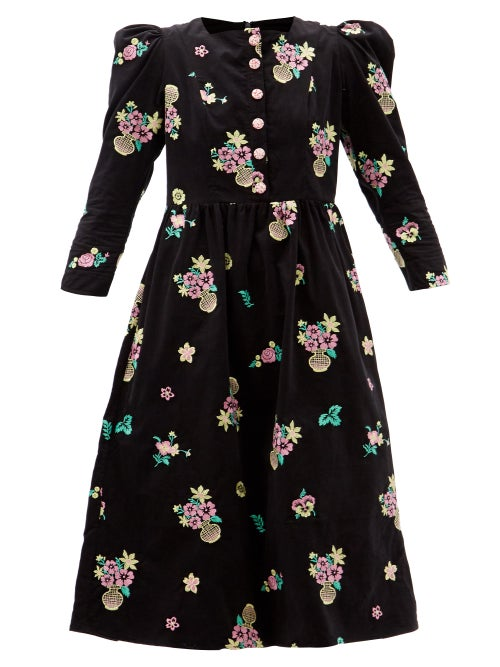Batsheva - Floral-embroidered Cotton-corduroy Midi Dress - Womens - Black