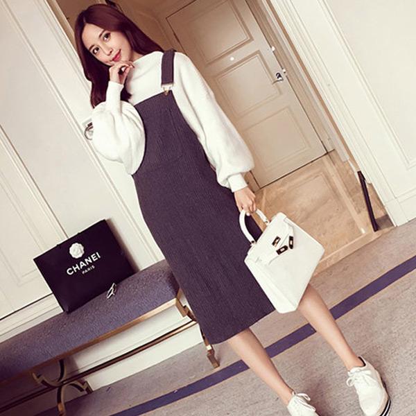韓系優雅美人 修身吊帶純色連身裙 vina shop【現貨】OPS1129