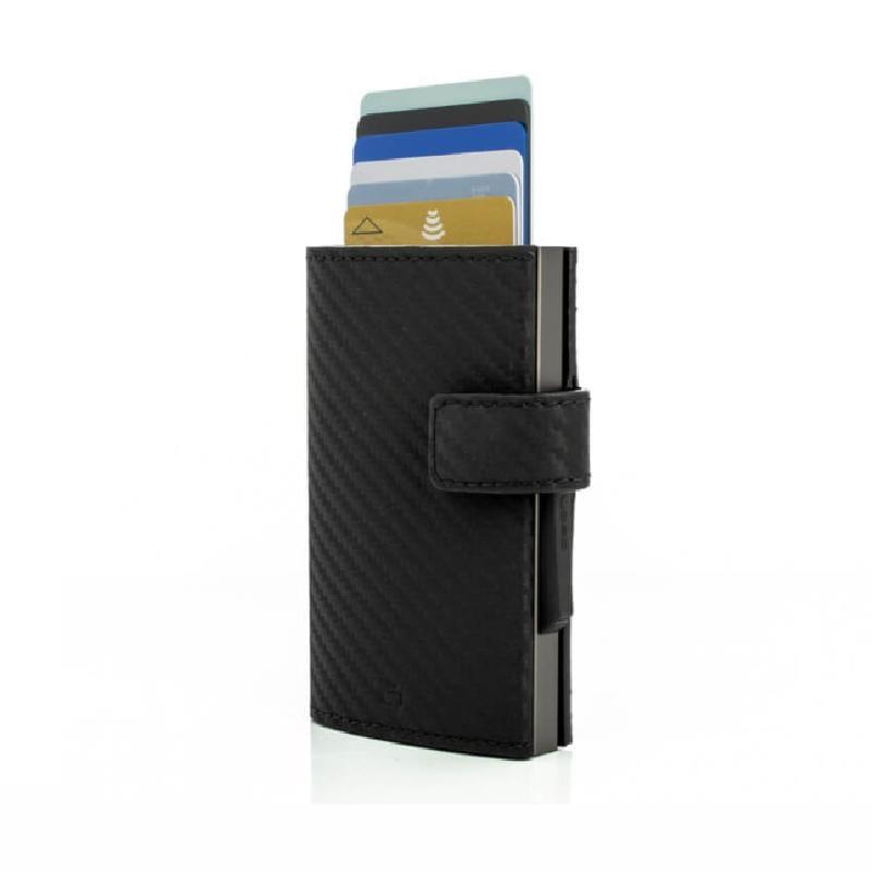 Cascade Wallet SNAP RFID 安全防盜環扣真皮三摺錢包-Titanium Carbon 金屬灰碳纖維紋