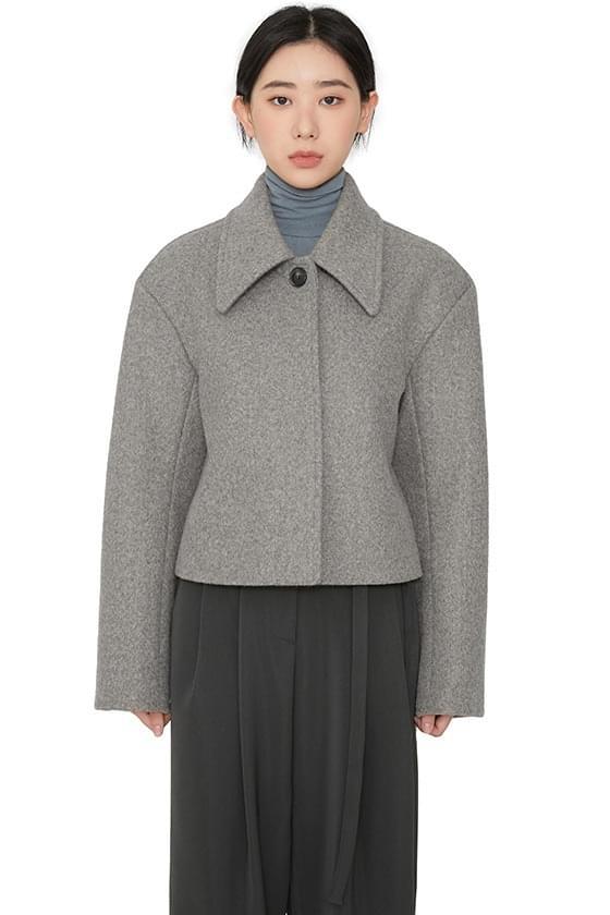 韓國空運 - Semi button single short coat 大衣外套