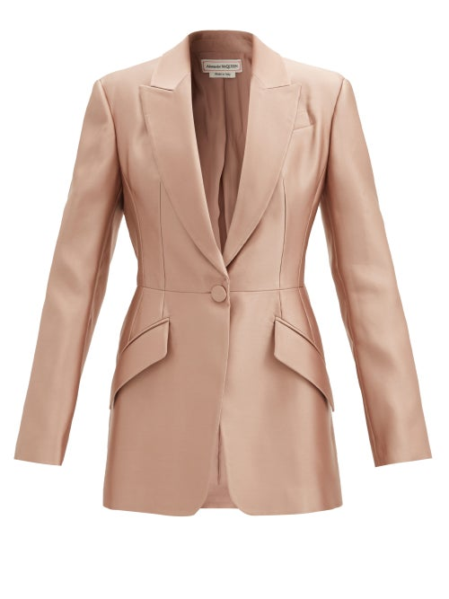 Alexander Mcqueen - Silk-duchess Satin Single-breasted Jacket - Womens - Light Gold