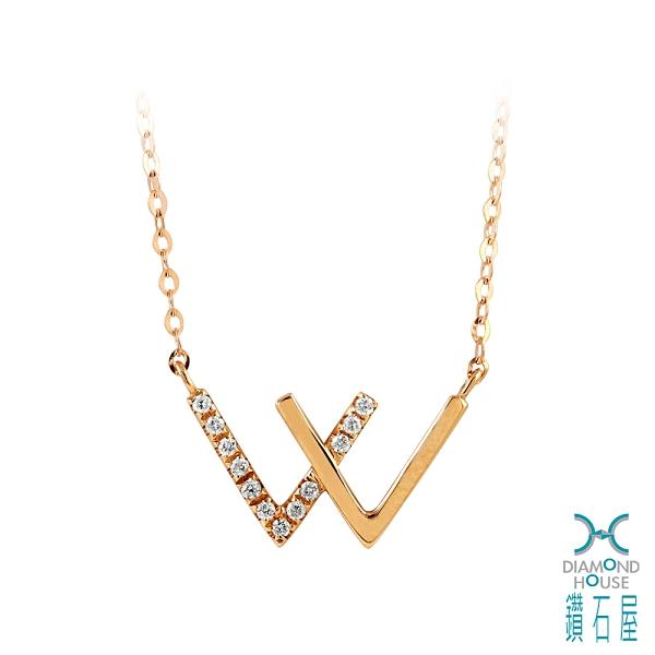 【鑽石屋】玫瑰K金鑽石項鍊