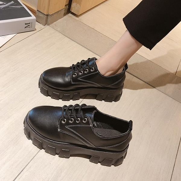 黑色小皮鞋女英倫風2020年秋冬新款厚底松糕軟皮圓頭工作百搭單鞋 【雙十一狂歡購】