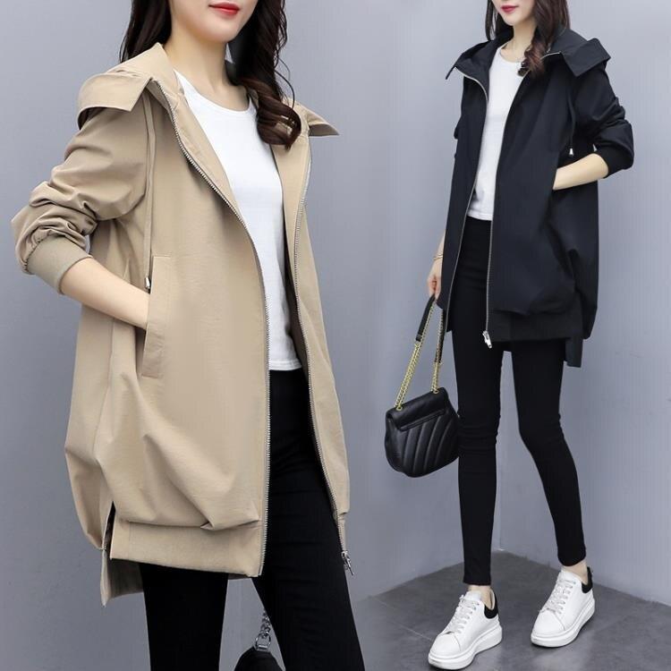 2020春秋新款韓版休閒氣質卡其連帽風衣女中長款寬鬆黑色短外套