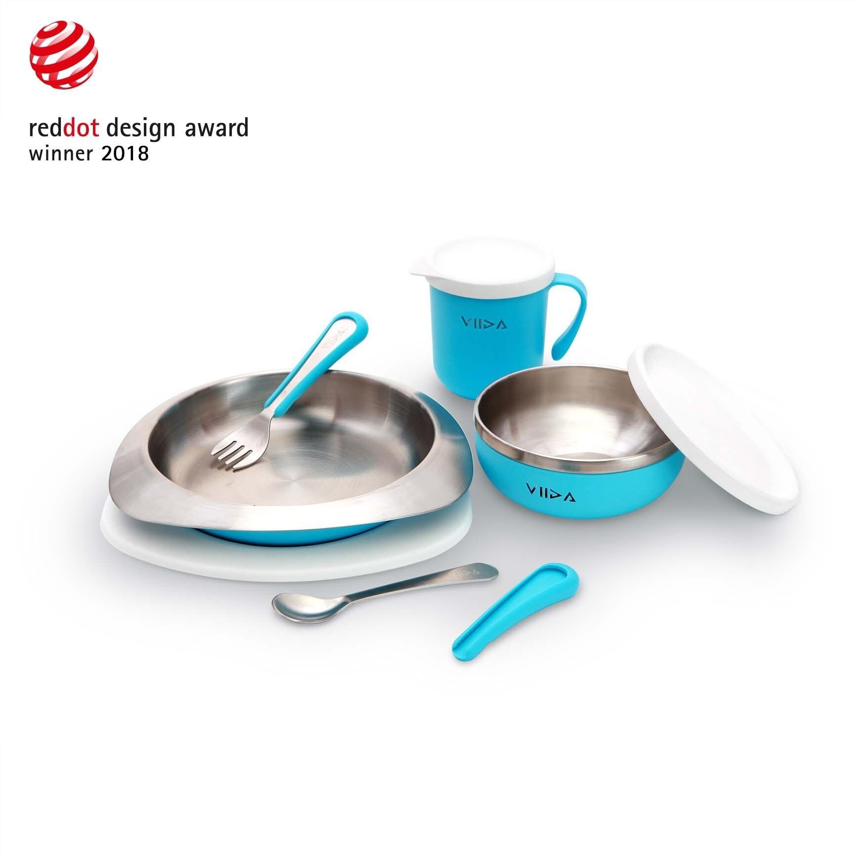 【VIIDA】Souffl  抗菌不鏽鋼餐具組 (寶貝藍)