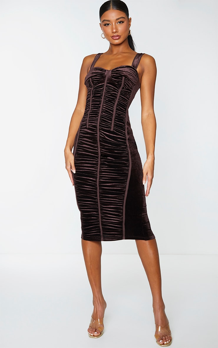 Chocolate Velvet Ruched Corset Detail Sleeveless Midi Dress