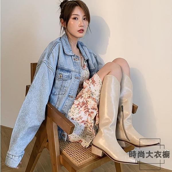 尖頭西部牛仔靴女高筒長靴不過膝顯瘦粗跟真皮騎士靴【時尚大衣櫥】