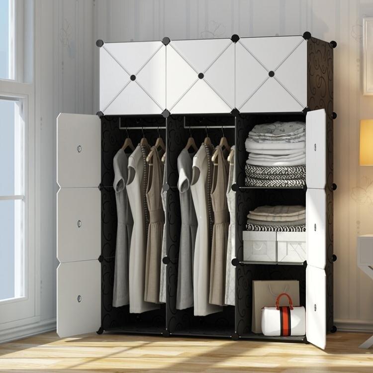 樂天優選-衣櫃簡易組裝塑膠布衣櫥租房省空間仿實木板式簡約現代經濟型櫃子ATF小舖