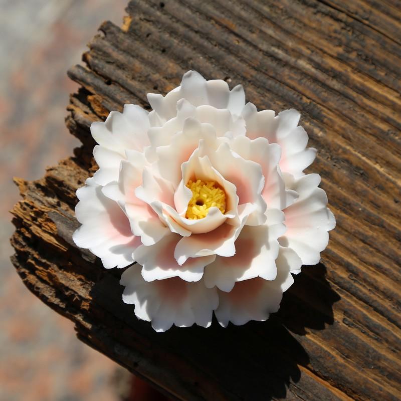☘️雲志☘️手捏陶瓷荷花白玉蘭花創意陶瓷手工茶玩茶具配件筆擱茶寵擺件精品