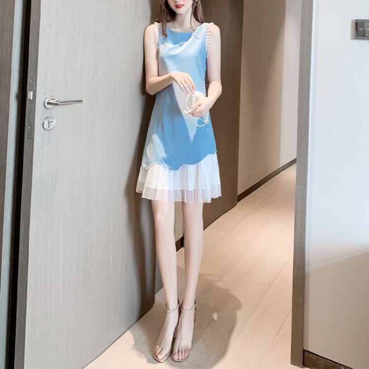 樂天優選-無袖仙女超仙森系洋裝女裝新款夏裝顯瘦拼接網紗裙子女夏年 ATF