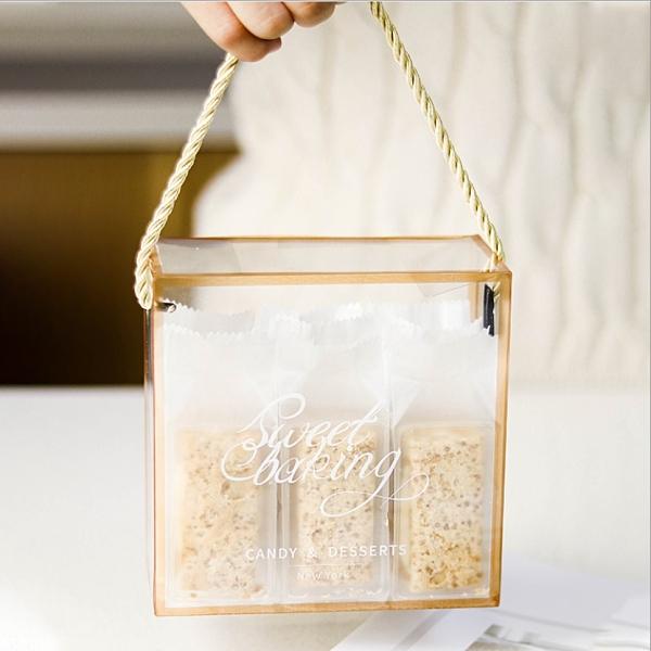 抽繩金邊透明手提盒 透明盒 伴手禮盒 聖誕包裝盒 塑膠盒 收納盒 餅乾盒 糖果盒 【C129】