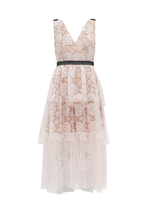 Self-portrait - Starlet Rose Floral-embroidered Tulle Midi Dress - Womens - Light Pink