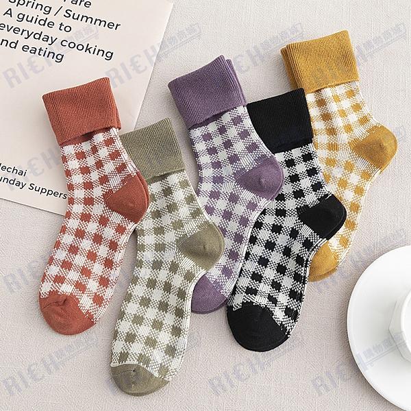 秋冬款格子堆堆襪女襪糖果色學院風女襪