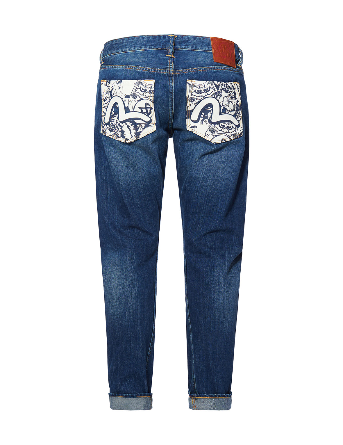 Monotone Allover Daruma, Ebisu and Tiger-printed Pockets 3D Fit Jeans
