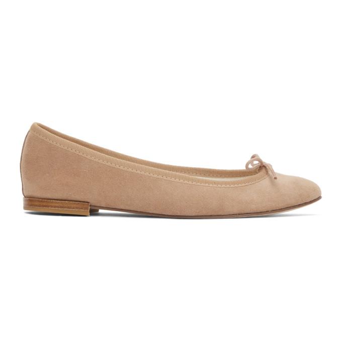 Repetto 驼色 Cendrillon 绒面革芭蕾鞋