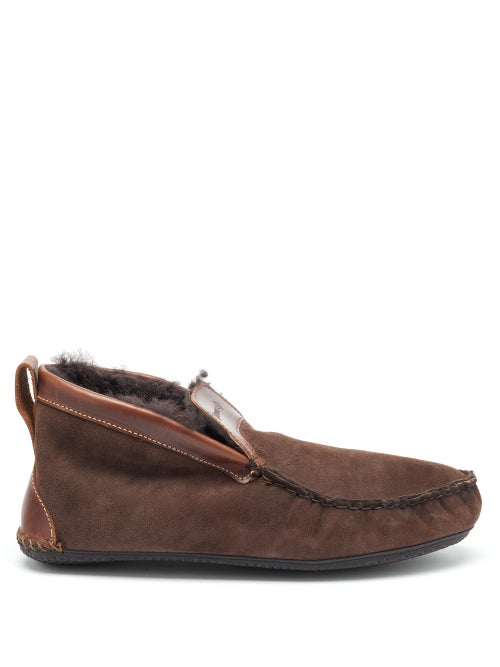 Quoddy - Dorm Shearling Slipper Boots - Mens - Brown