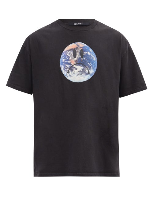 Ksubi - Earth-print Cotton-jersey T-shirt - Mens - Black