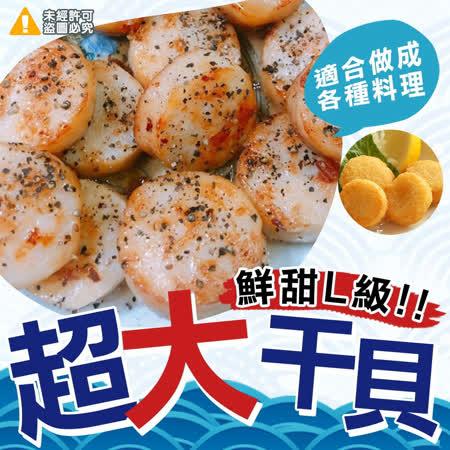 (任選)【極鮮配】鮮甜L級超大干貝(扇貝肉)500g±10g/包