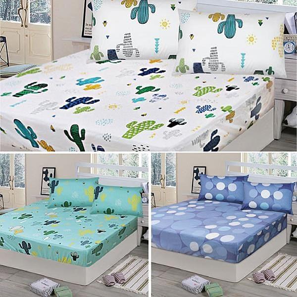 【南紡購物中心】【Victoria】純棉雙人床包+枕套三件組-多款任選