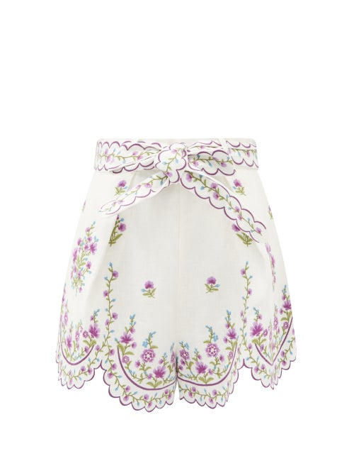 Zimmermann - Poppy Floral-embroidered Linen Shorts - Womens - White Multi