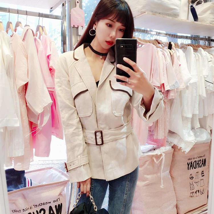 韓風造型收腰顯瘦復古口袋風衣外套VINA扉娜【現】JK2010120