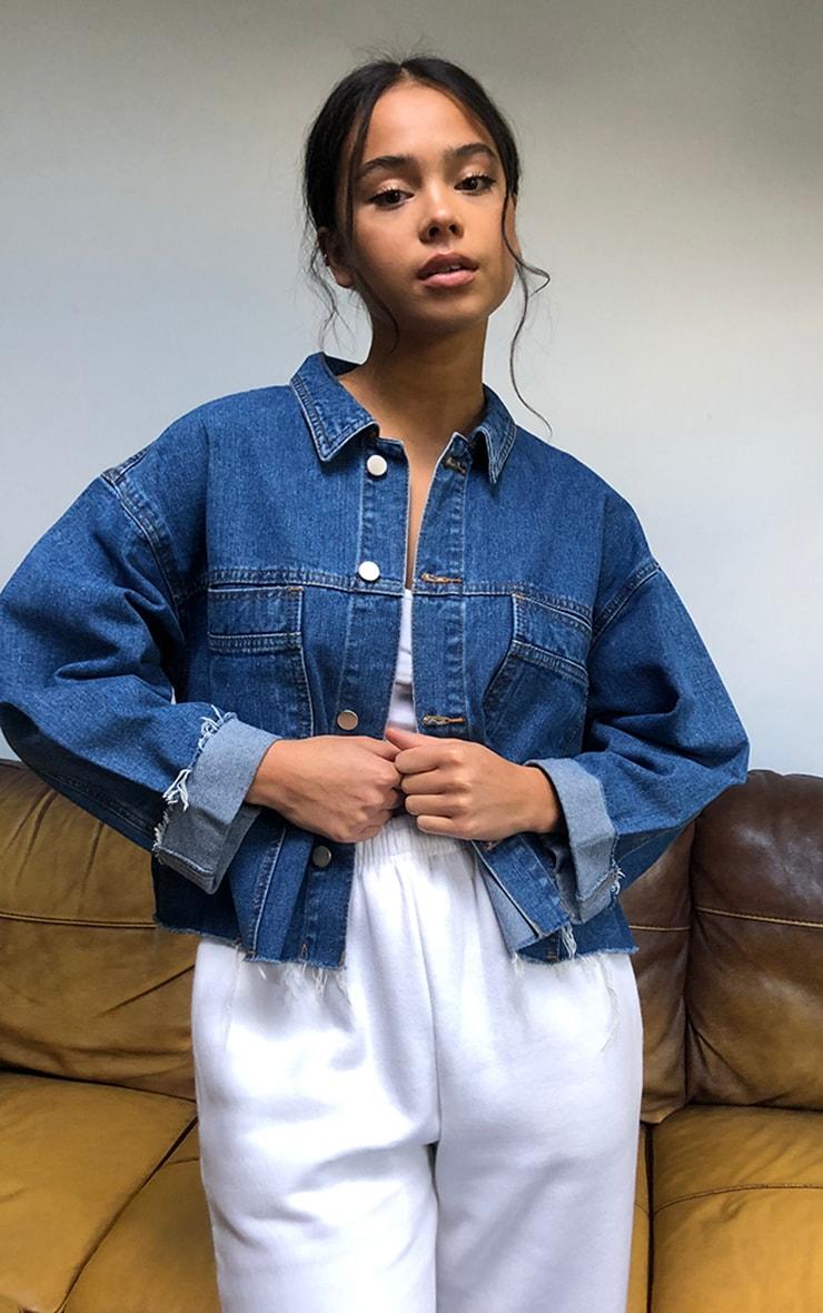 Mid Blue Wash Raw Hem Cropped Denim Jacket