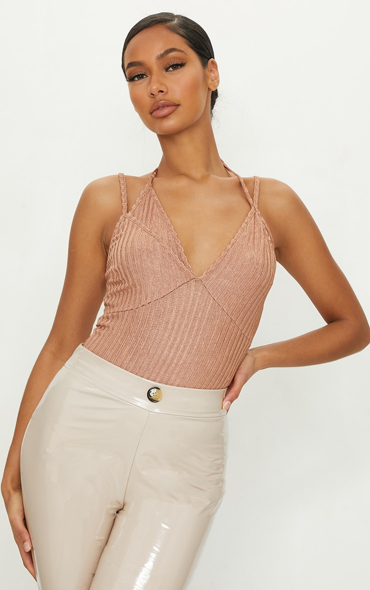 Copper Glitter Rib Double Layer Bodysuit