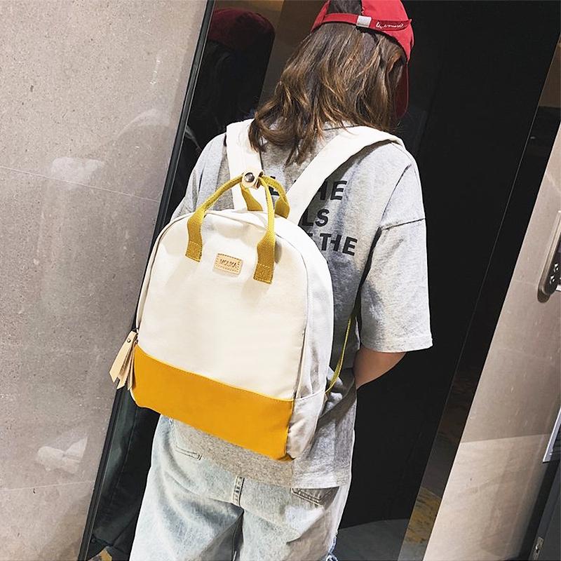 多益善+文藝雙肩包 學院風帆布女包包 時尚休閒韓版側肩包 可手提女生書包 大容量女生後背包 流蘇拉帶女背包 網紅少女包
