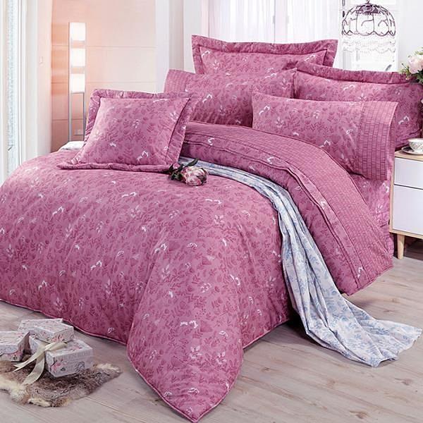 【南紡購物中心】【FITNESS】精梳棉加大七件式床罩組-芳草幽夢(紅)