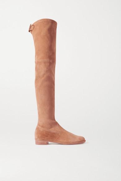 Stuart Weitzman - Lowland 绒面革过膝长靴 - 驼色 - IT39