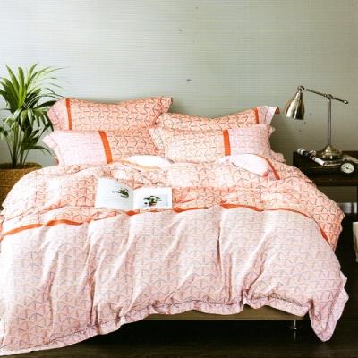 Saint Rose頂級精緻100%天絲兩用被床包組(包覆高度35CM)-印象北歐-桔-加大