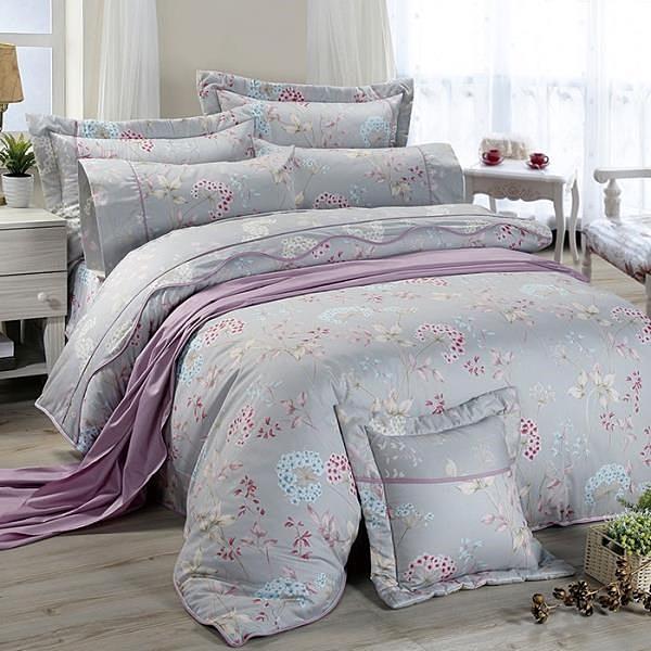 【南紡購物中心】【FITNESS】精梳棉加大七件式床罩組-芙若拉(灰)