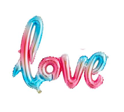 42吋連體LOVE 草寫 求婚 告白 婚禮佈置 會場布置 拍照道具 造型鋁箔 字母 氣球