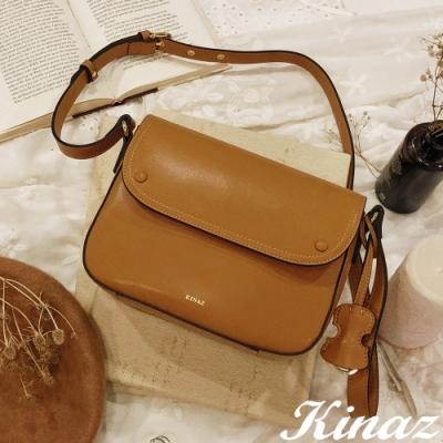 KINAZ 雙層包扣掀蓋拉鍊斜背包-優雅芥黃 -西班牙舞曲系列