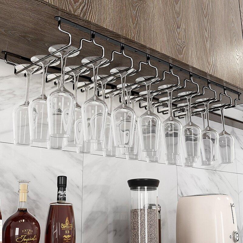 黑色304不銹鋼紅酒杯架倒掛酒杯架家用懸掛紅酒杯掛架高腳杯架