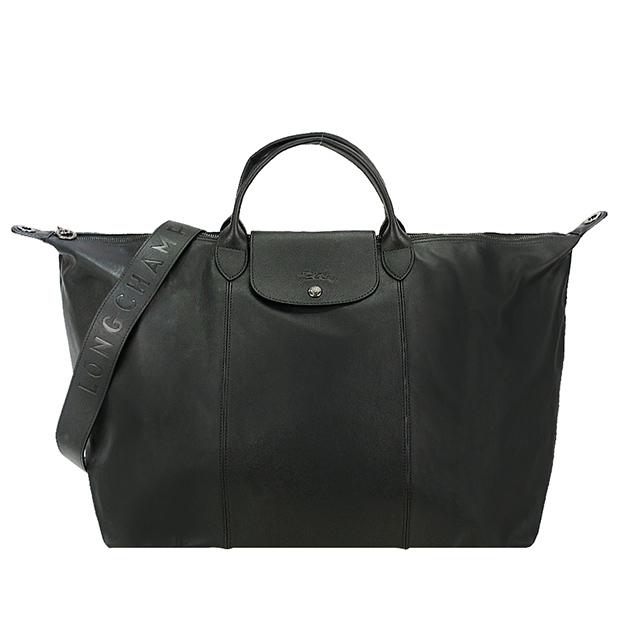 LONGCHAMP Le Pliage Cuir 系列小羊皮寬背帶短把折疊旅行包(黑)