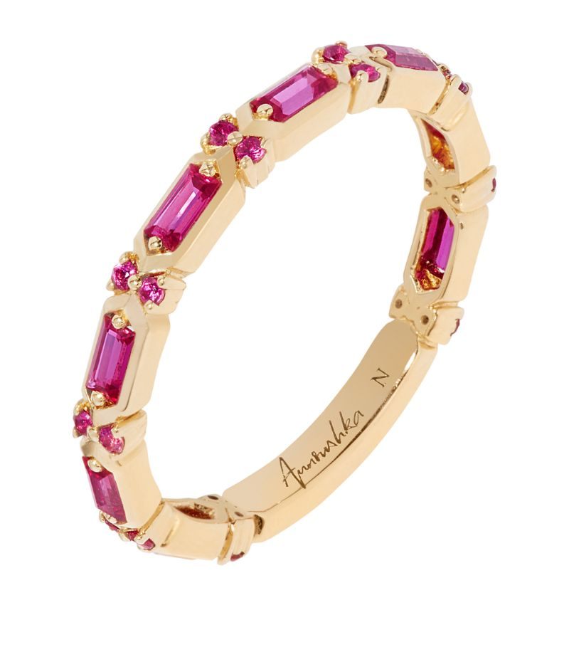 Annoushka Yellow Gold And Pink Sapphire Baguette Ring