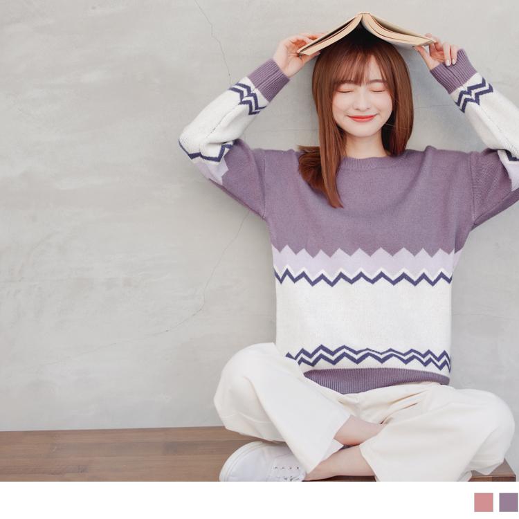 馬卡龍針織圖騰包芯紗毛衣/上衣
