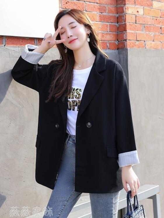 樂天精選▲西裝外套 網紅小西裝外套女春秋2020年新款韓版寬鬆休閑設計感套裝黑色西服