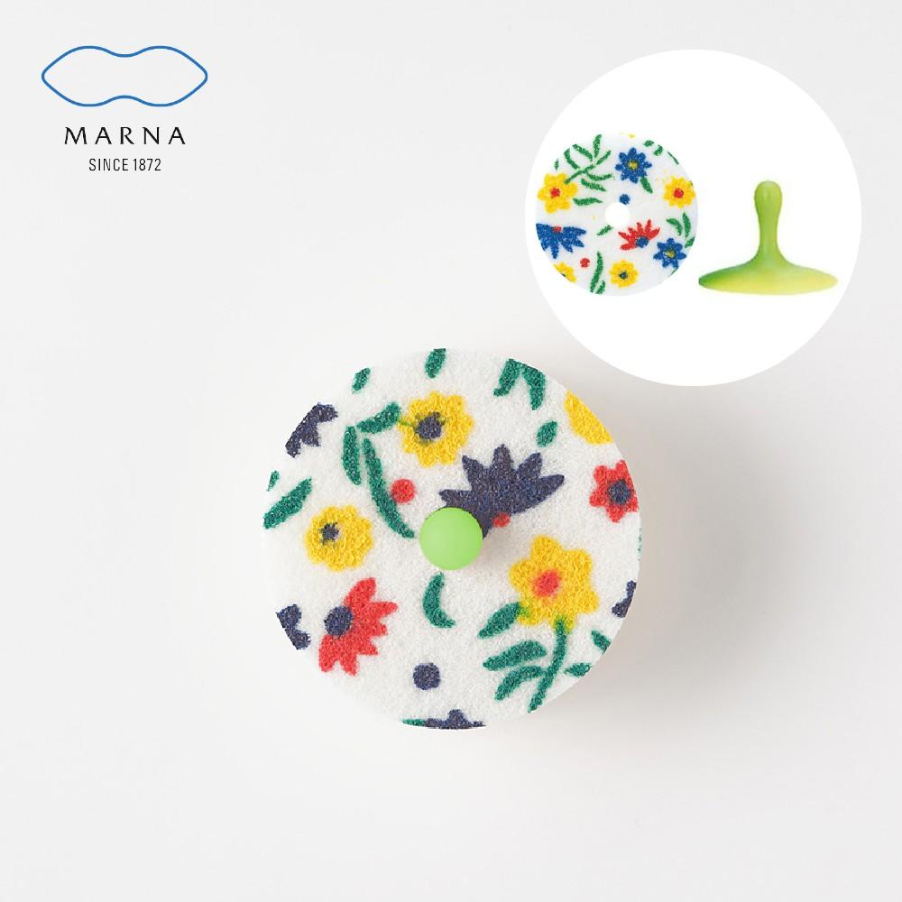 MARNA 日本進口廚房海綿菜瓜布(花紋)-附吸盤