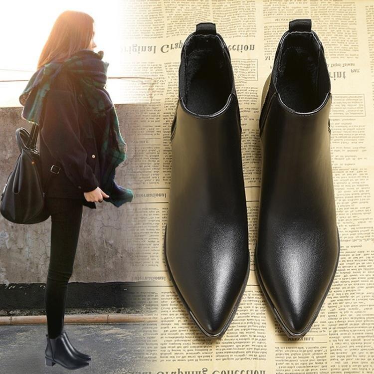 尖頭馬丁靴女英倫風2020新款秋冬季百搭女鞋中高跟松緊帶粗跟短靴