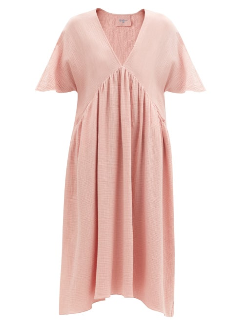 Loup Charmant - Riva V-neck Cotton-gauze Midi Dress - Womens - Light Pink