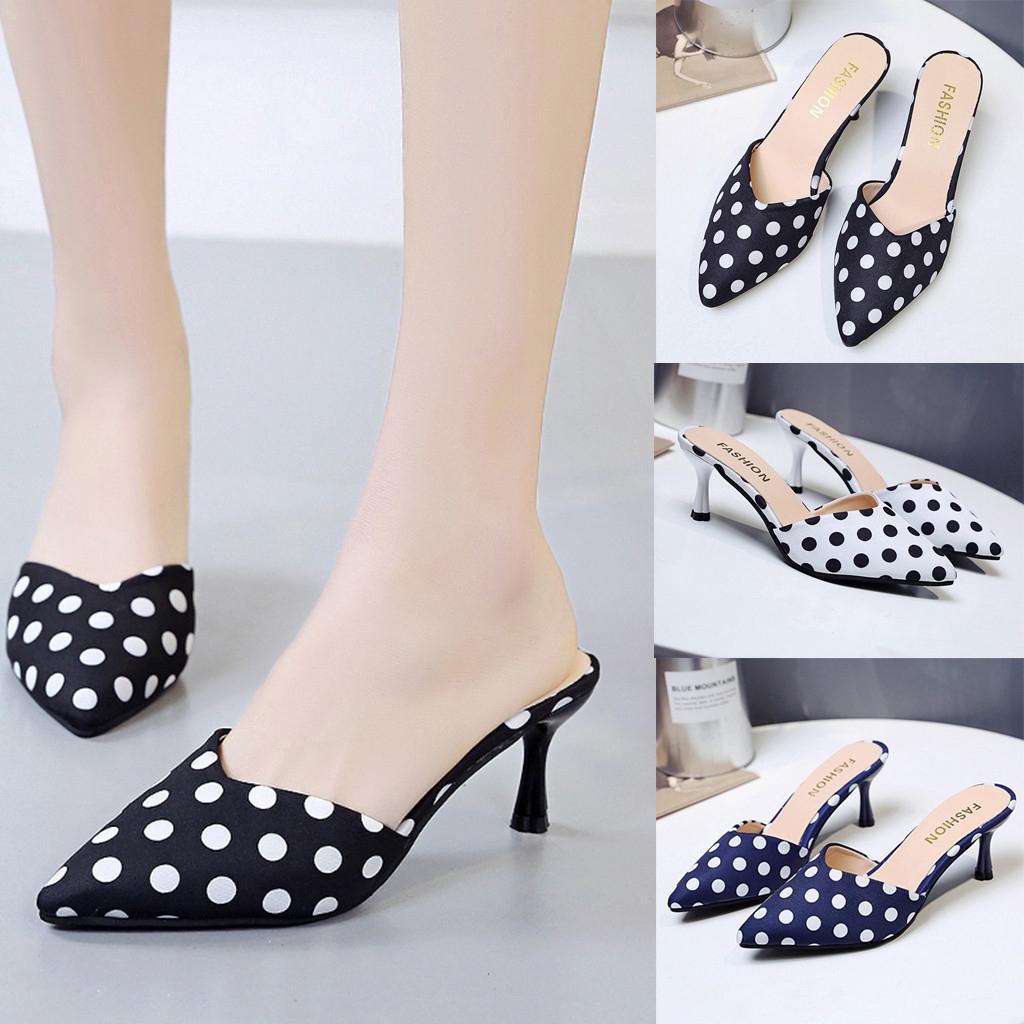 新時尚女士夏季涼鞋中跟鞋現貨派對尖頭鞋&SKY