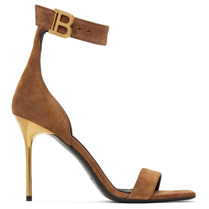 Balmain 棕色 Rudie 绒面革凉鞋