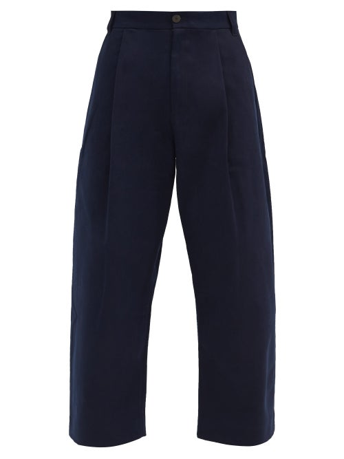 Studio Nicholson - Pleated Cotton-twill Wide-leg Trousers - Mens - Navy
