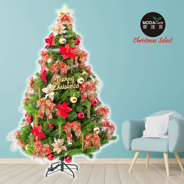 摩達客耶誕-台製6尺(180cm)高規特豪華版綠聖誕樹+絕美聖誕花蝴蝶結系配件(不含燈)