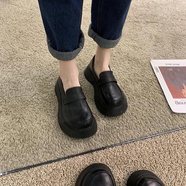 單鞋女2020秋季新款英倫風小皮鞋秋冬百搭粗跟圓頭中跟日系樂福鞋 【雙十一狂歡購】