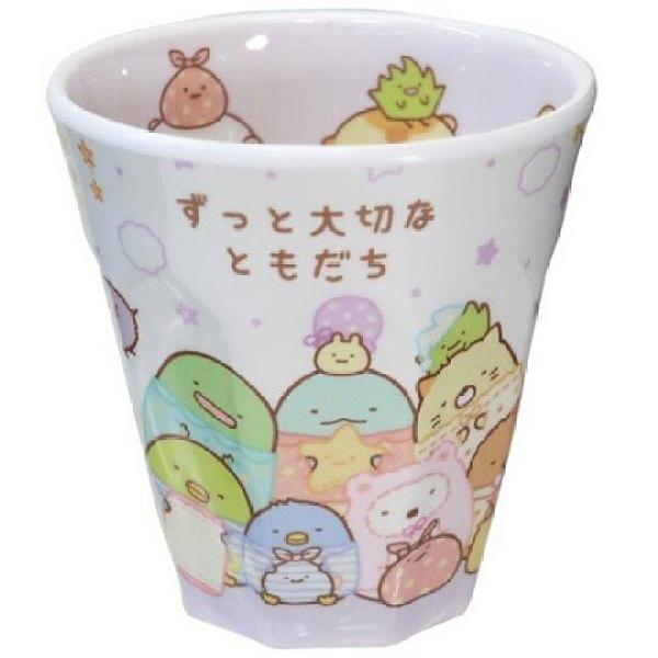 小禮堂 角落生物 無把美耐皿杯 塑膠杯 兒童水杯 270ml (白 睡衣) 4548626-12767